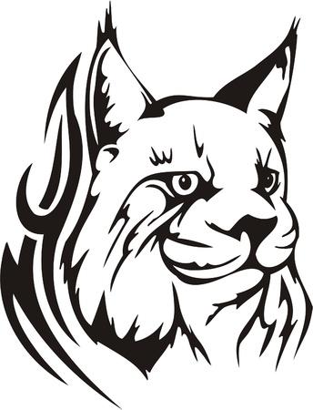 lince: Ilustraci�n Predators.Vector tribal listo para corte de vinilo.