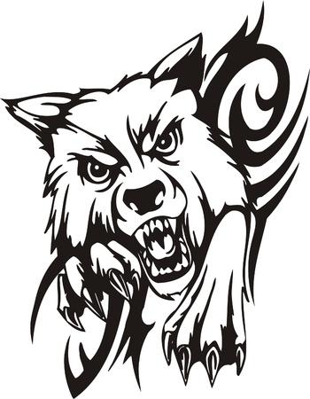 wolf face: Tribal Predators.Vector illustration ready for vinyl cutting. Illustration