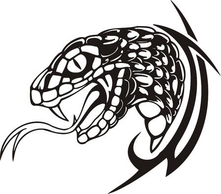 poison snakes: Tribal Predators.Vector illustration ready for vinyl cutting. Illustration