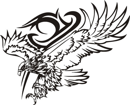 adler silhouette: Tribal Predators.Vector Illustration bereit f�r Vinyl schneiden.