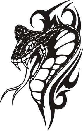 snake: Tribal Predators.Vector illustration ready for vinyl cutting. Illustration