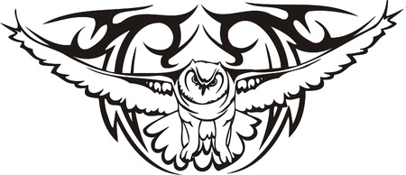 sowa: Tribal ilustracji Predators.Vector gotowy do ciÄ™cia winylu.