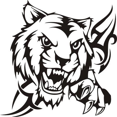 Tribal Predators.Vector illustration ready for vinyl cutting. Stock Vector - 8759568