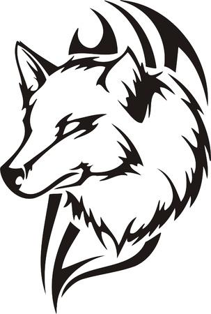 fox face: Ilustraci�n Predators.Vector tribal listo para corte de vinilo.