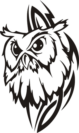 owl eye: Tribal Predators.Vector illustration ready for vinyl cutting. Illustration