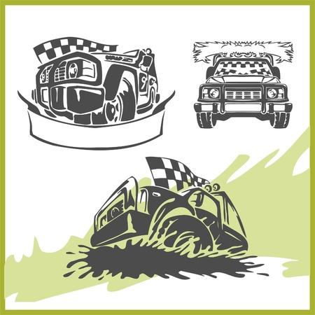 autosport:   4x4 Off-Road Symbol. Vector Illusration .Vinyl-Ready.