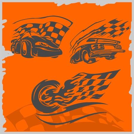 imagenes vectoriales: Coches de carreras de calles - serie im�genes vectoriales. Listo para cortar. Vectores