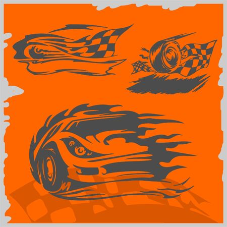 racing wheel: Street Racing Cars - series vector images. Ready to Cut.