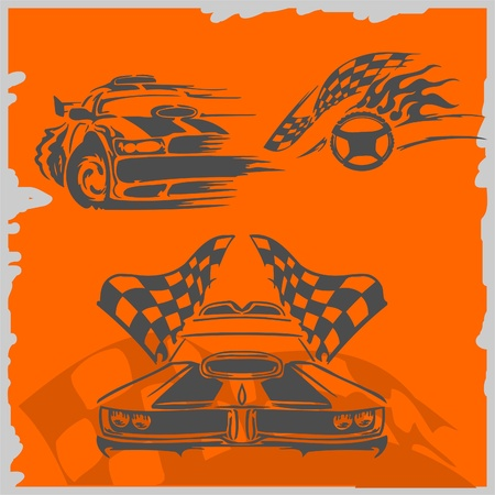 ready to cut: Street Racing Cars - series vector images. Ready to Cut.