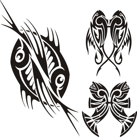 printing logo: Three drawings of fishes. Tribal clipart. Vector illustration ready for vinyl cutting. Illustration