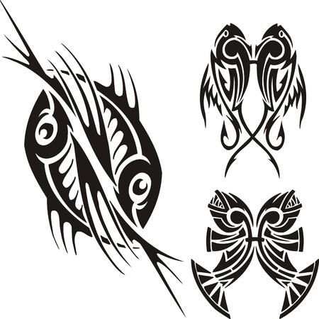 logo poisson: Trois dessins de poissons. Clipart tribal. Illustration vectoriel est pr�te pour la d�coupe de vinyle.
