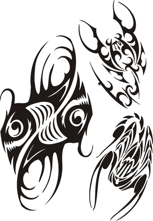Two scorpions and two fishes with the big dens. Tribal clipart. Vector illustration ready for vinyl cutting. Vector