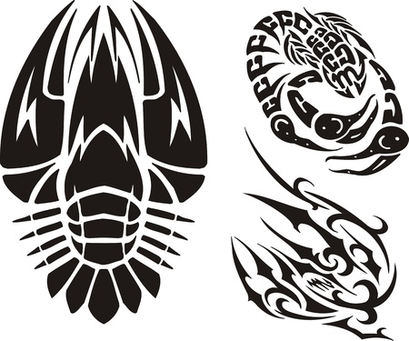 Cancer, a scorpion and not clear drawing. Tribal clipart. Vector illustration ready for vinyl cutting. Vector