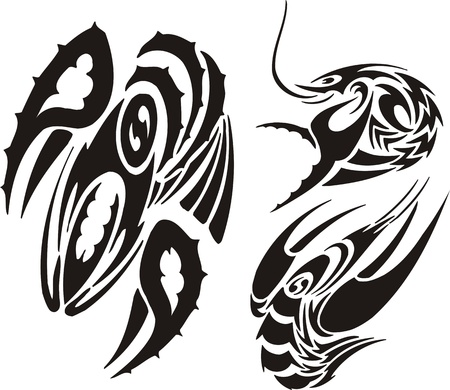 Three drawings of cancers. Tribal clipart. Vector illustration ready for vinyl cutting. Vector