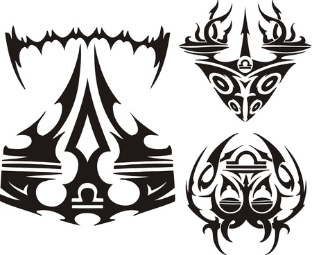 Unusual drawings of scales. Tribal clipart. Vector illustration ready for vinyl cutting. Vector