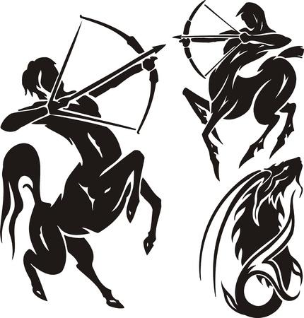 sagittarius: Due centauri e capra di montagna. Clipart tribale. Illustrazione vettoriale pronta per il taglio di vinile.