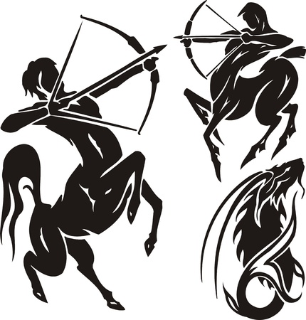 sagittarius: Two centaurs and mountain goat. Tribal clipart. Vector illustration ready for vinyl cutting. Illustration