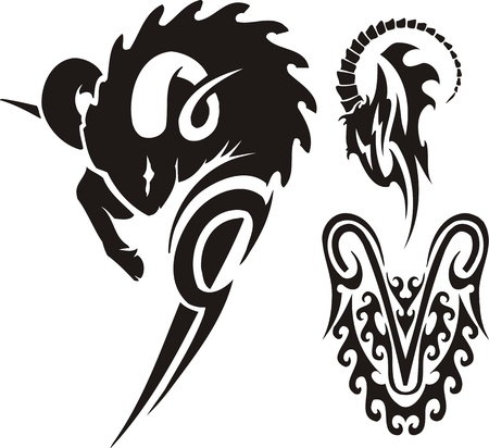 mountain goats: The ram and mountain goat. Tribal clipart. Vector illustration ready for vinyl cutting.