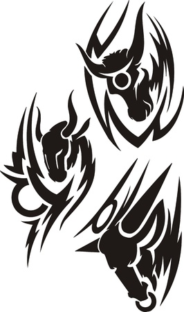 hoofs: Three drawings of the Capricorn. Tribal clipart. Vector illustration ready for vinyl cutting.