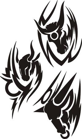capricornio: Tres dibujos del Capricornio. Im�genes predise�adas tribales. Ilustraci�n de vector listo para el corte de vinilo.