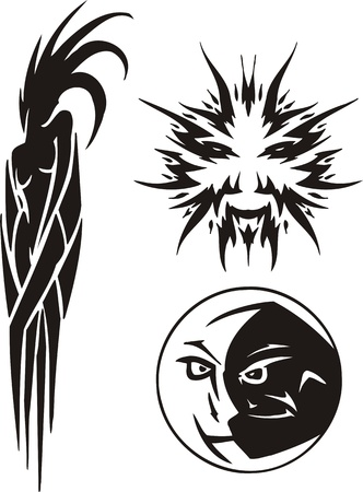 kısrak: The Virgo, the sun and the moon. Tribal clipart. Vector illustration ready for vinyl cutting. Çizim