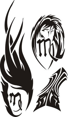 traditional tattoo: The Virgo, Twins. Tribal clipart. Vector illustration ready for vinyl cutting.