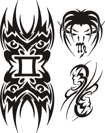 Libras, the Virgo and Twins. Tribal clipart. Vector illustration ready for vinyl cutting. Stock Vector - 8759469