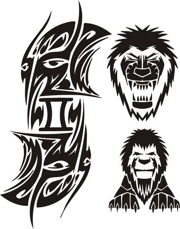 Twins and Lion. Tribal clipart. Vector illustration ready for vinyl cutting. Vector