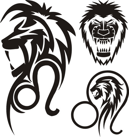Three drawings of a lion. Tribal clipart. Vector illustration ready for vinyl cutting.