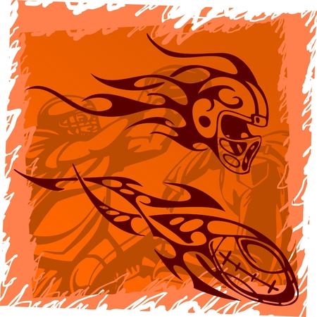 football helmet: Helmet and ball.Tribal Sport.Vector Illustration.Vinyl Ready.