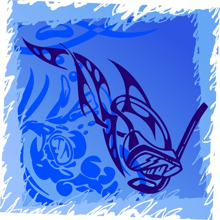 Scuba diving.Tribal Sport.Vector Illustration.Vinyl Ready. Stock Vector - 8759036