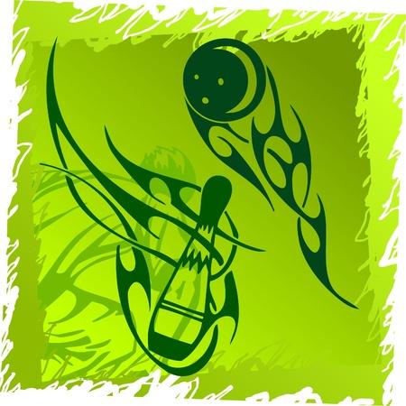 Bowling.Tribal Sport.Vector Illustration.Vinyl Ready. Vector