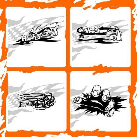 Trucks Graphics.Vector illustration ready for vinyl cutting. Vector