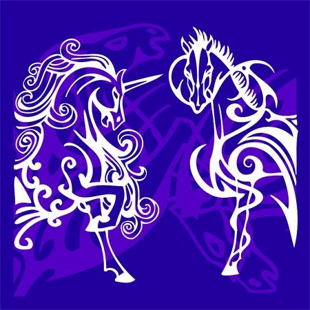 Vignettes Horses.Vector Illustration.Vinyl Ready. Stock Vector - 8759303