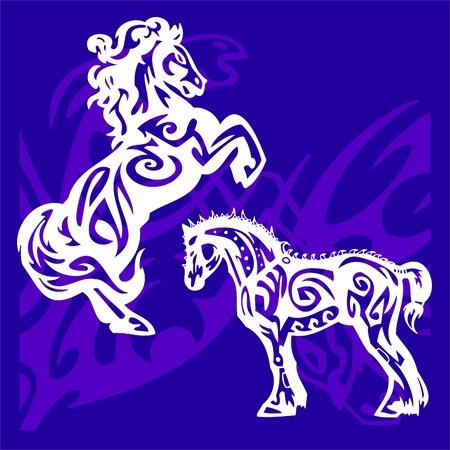 Vignettes Horses.Vector Illustration.Vinyl Ready. Vector