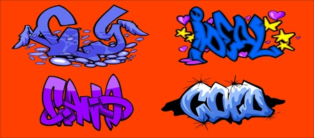 vinyl cutting: Graffiti Words.Vector illustration ready for vinyl cutting.