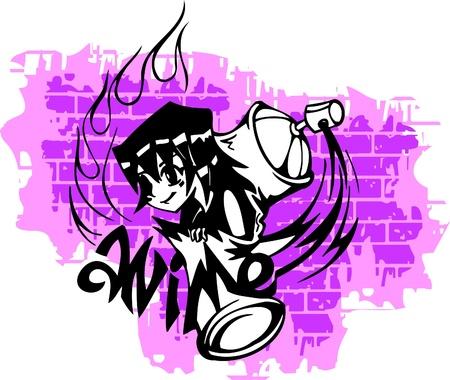 Graffiti-Teenager of the Spray ballon.Vector Illustration. Vinyl-Ready. Vector