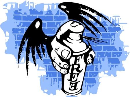 urban youth: Graffiti - Wings and Spray ballon.Vector Illustration. Vinyl-Ready. Illustration