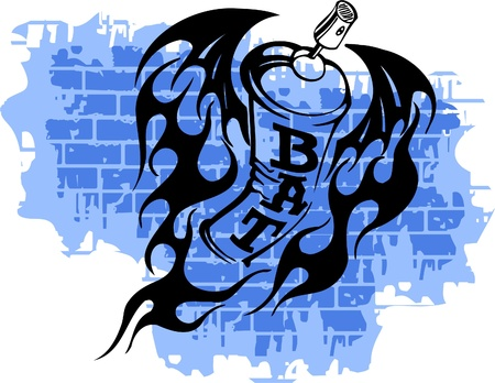 Graffiti - Bat end Spray ballon.Vector Illustration. Vinyl-Ready. Vector