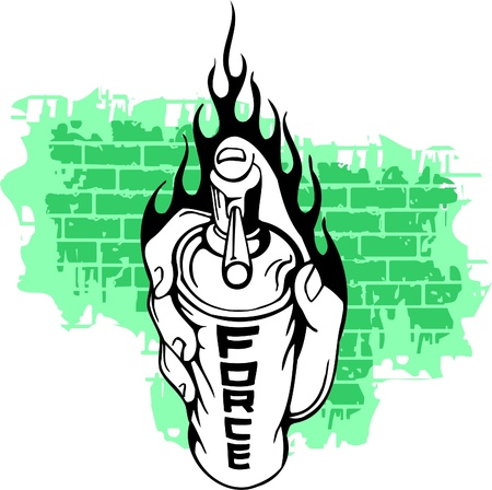 flame letters: Graffiti - Hand end Flames.Vector Illustration. Vinyl-Ready.