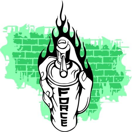 Graffiti - Hand end Flames.Vector Illustration. Vinyl-Ready. Stock Vector - 8759278