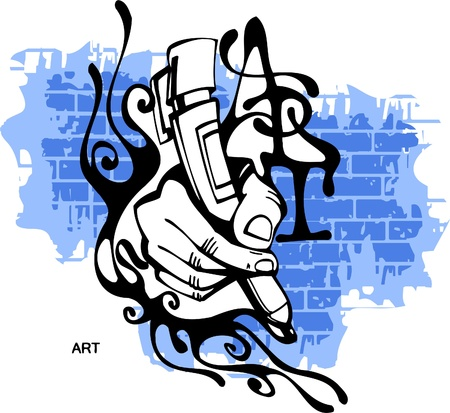 graffiti: Graffiti - mano termina Marker.Vector ilustraci�n. Listas para vinilo.