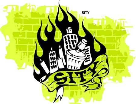 Graffiti - Flame and City.Vector Illustration. Vinyl-Ready. Vector