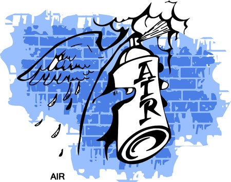 sprays: Graffiti - Air end  Hand.Vector Illustration. Vinyl-Ready.