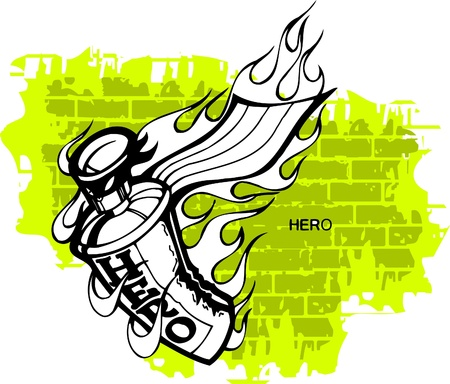 Graffiti - Hero end Spray ballon.Vector Illustration. Vinyl-Ready. Stock Vector - 8759159