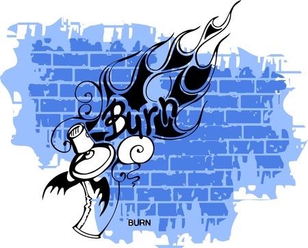 flame letters: Graffiti -Flame end Spray ballon.Vector Illustration. Vinyl-Ready.