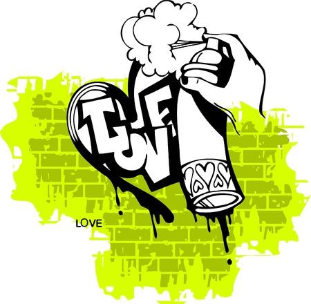 Graffiti -Love end Heart.Vector Illustration. Vinyl-Ready. Vector