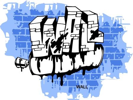 Graffiti -Wall and Spray.Vector Illustration. Vinyl-Ready. Vector