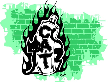 Graffiti -Flame end Cat.Vector Illustration. Vinyl-Ready. Vector