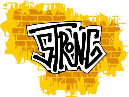 wand graffiti: Graffiti-Wand aus Ziegelstein und Inscription.Vector Abbildung. Vinyl-Ready.